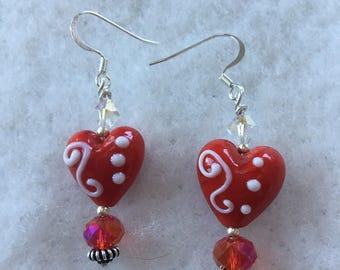Valentines Day Red Glass Heart Earrings