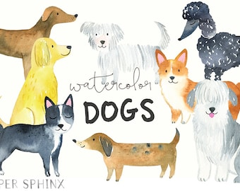 Watercolor Dogs Clipart | Pets Clip Art -  Watercolor Animals - Puppies / Dog Breeds - Digital Instant Download PNG files