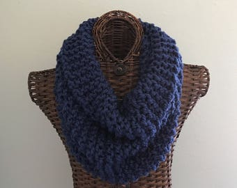 Knitted scarf in navy, soft chunky wool blend yarn