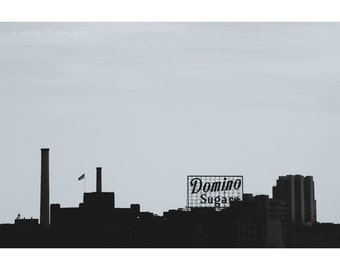 Domino Sugars, Silhouette Photography, 8x12 Print, Baltimore Skyline, Black and WHite Photography, Kitchen Photography, Industrial Art, Food