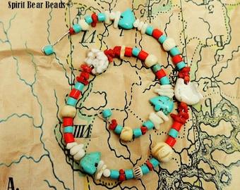 "Southwest Zuni Bear Fetish Beads Tan Turquoise Jasper Stone  Coral 14"" Strand B"