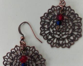 Copper and brass Swarovski crystal filigree earrings.