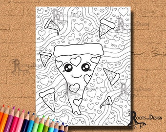 INSTANT DOWNLOAD Coloring Cute Pizza with Heart Pepperoni Coloring Page/ Print, doodle art, printable