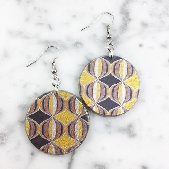 Resin earrings, geometric, yellow, gray, sold, earring, hypoallergenic hook