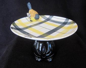 Bird Bath Feeder Candy Jewelry LED Yellow Black Plaid Plate Garden Home Decor