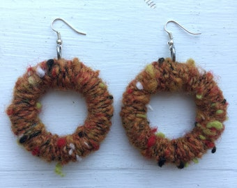 Thick Handmade Drop Hoop Earrings in Autumn Rust