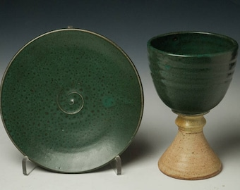 pottery chalice and paten set, common cup, liturgical vessels