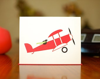 Aviator Bunny - New Baby Congratulations Card in Red, Blue or Pink (100% Recycled Paper)