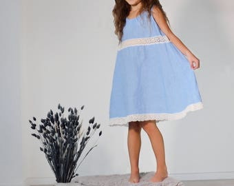 Linen Gown For Girl/ Lacy Linen Night Dress in Sky Blue/ Linen Wear For Girl/ Night wear For Girls