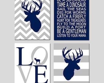 Navy Deer Prints Navy Deer Nursery Decor Deer Wall Art Navy Deer Art Deer Room Decor Woodland Nursery - Set of 4 Prints - CHOOSE YOUR COLORS
