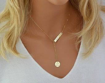 Engraved Monogram Necklace, Lariat Necklace Gold, Monogram Necklace Y, Personalized Necklace, Gold Lariat Necklace Bar