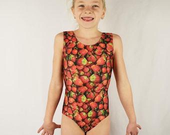 Shining Star Wild Strawberry  gymnastics leotard peek-a-boo back Child Adult