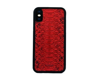 iPhone x case red python leather iPhone protective case