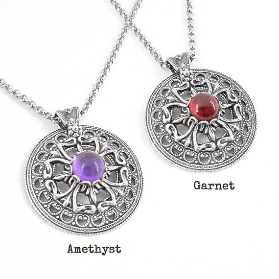 Celtic moon necklace choose your gemstone garnet amethyst like this item aloadofball Image collections