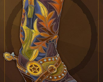 Golden, Colordao - Cowboy Boot (Art Prints available in multiple sizes)