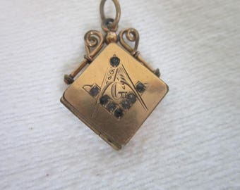 Rare 19th C Victorian Masonic Gold Filled  Engraved Photo Locket with Jewels