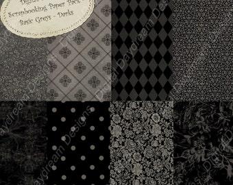 Instant Download Digital Printable Scrapbooking Background Paper Kit - Basic Grays, Darks