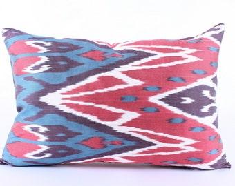 Red,Black, Silk, Ikat Pillow Cover, Decorative, Throw, Pillow, Case, Cushion Cover, Decor Modern Pillow Cover, Zigzag, Ikat Pillow