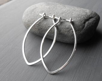 Marquise Silver Hoop Earrings