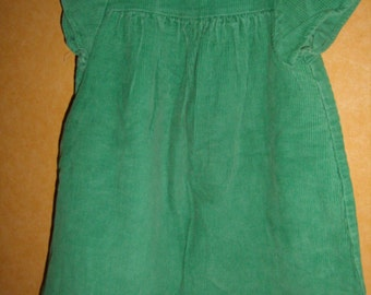 VINTAGE 70's Green Velvet trapeze dress / size 2 years