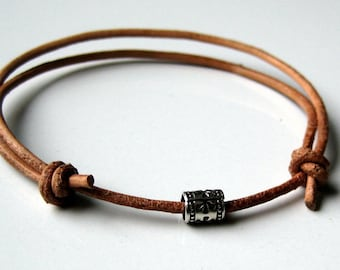Mens leather bracelet and 925 N2776
