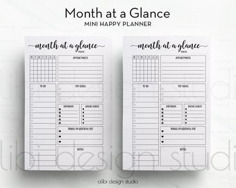 Month at a Glance, MINI Happy Planner, Monthly Planner, Happy Planner Printable, MINI MAMBI, Create 365, Me & My Big Ideas, Mambi insert