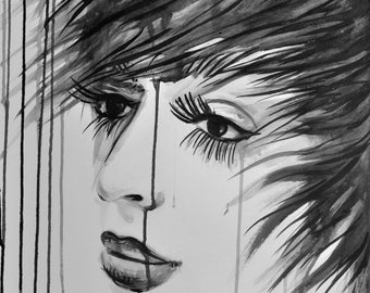 Vintage fashion inspired ink drawing, Ink pop art faces, Long lashes girl, ORIGINAL sumie portrait contemporary art, wall art,  Alex Solodov
