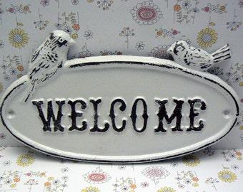 Bird Welcome Cast Iron Sign Shabby Chic White Two Birds Door Plaque