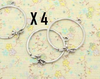 4 charms knot, satin ribbon, ballerina, circle, silver metal