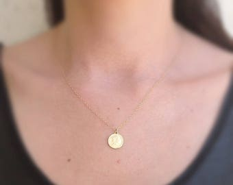 gold coin necklace, women coin jewelry, sideway coin, 14k gold filled,gift for her,dainty necklace,gold necklace,gold disc necklace