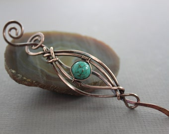 Swirly woven hair pin or shawl pin in copper and genuine turquoise, Hair pin, Shawl pin, Hair slide, Hair jewelry, Hair barrette,   HP035