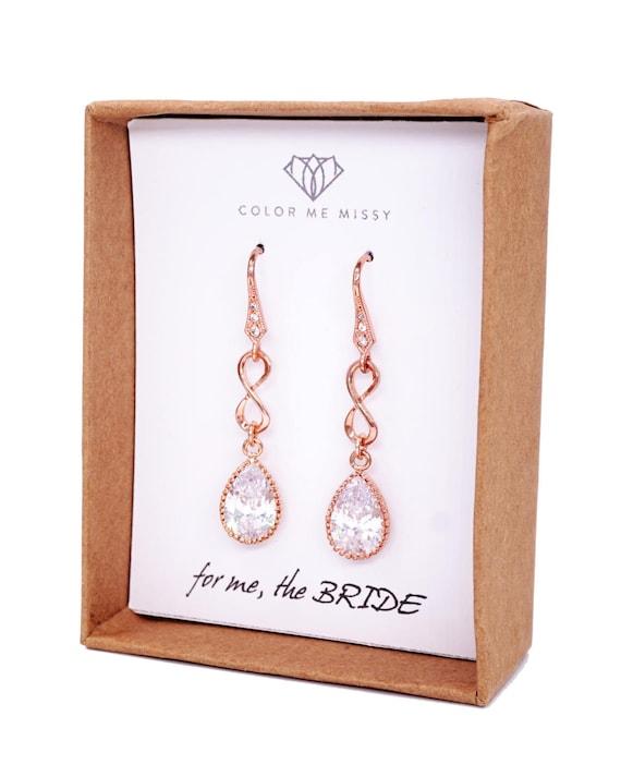 Rose Gold Cubic Zirconia Teardrop Infinity Earrings - gifts for her, earrings, bridal gifts, drop, pink gold weddings, bridesmaid earrings