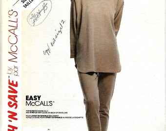 Stitch 'N Save 5012 Easy McCall's Misses Oversized Knit Top And Slim Pants Pattern, Size 8-12, UNCUT