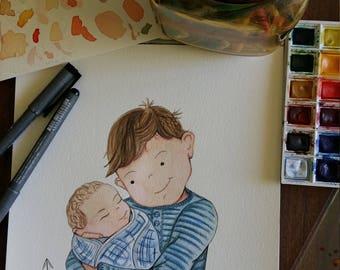 Custom portrait, Original Illustration, Family Portrait, Individual Portrait. Siblings, Pet Portrait. Wall Art.