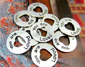 10 You are loved silver message charms inspirational word pendants engraved wedding message you are loved charms 24mm HP(DD5)