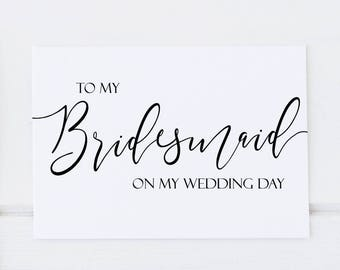 To My Bridesmaid On My Wedding Day Thank You Card, Wedding Thank You - To My Maid of Honor, (Pack of 6) Bridal Party Thank You Bridesmaid