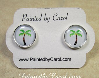 Palm Tree Earrings, Palm Tree Jewelry, Palm Tree Studs, Palm Tree Lever Backs, Beach Earrings, Beach Jewelry, Kids Earrings, Beach Gifts