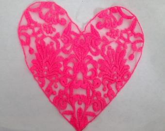 1 Piece Applique Hot Pink Heart Unique Design 8 1/4 inch wide B2