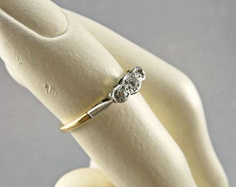 Antique Diamond Ring In 9ct Yellow Gold Band Engagement Ring Antique Jewelry