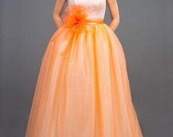 Lace wedding dress/Peach wedding dress/Pink lace wedding dress