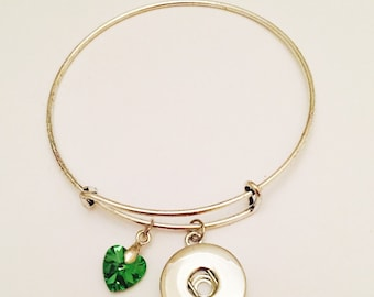 Snap Jewelry- Snap Bracelet- Snap Bangle Bracelet- Fits All Standard 18mm Snap Buttons & Snap Charms- Interchangeable Snap Bracelets