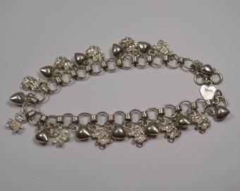 Beautiful teaddy bear and hearts sterling silver 7 inch bracelet