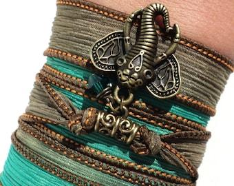 Bohemian Silk Wrap Bracelet Ganesha Yoga Jewelry Unique Sacred Elephant Gift For Her or Him Christmas Stocking Stuffer Under 30 Item K23