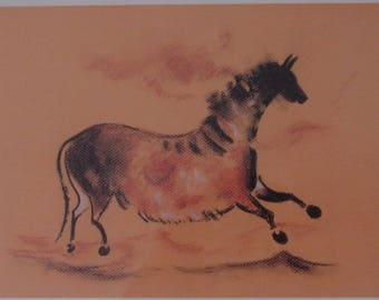 The cave of Lascaux horse wall print. Chalk drawing