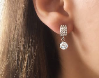 gift for women,crystal earrings,Huggie Earrings, Bridesmaids gift, Zirconia Crystal Platinum Plated Dangle Earrings Wedding Jewellery
