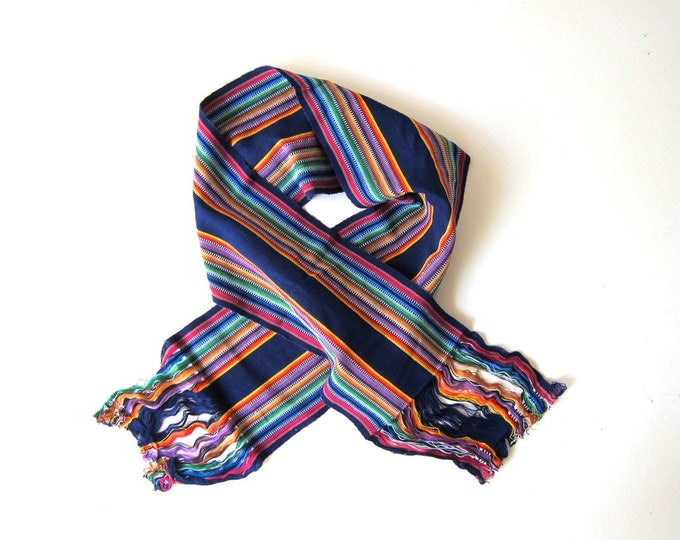 Mexican Table Runner Thick Woven Cotton Scarf Colorful Rainbow Fringe Ethnic Neck Scarf Handwoven Scarf