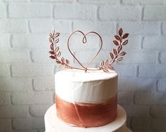 Heart with Laurel A Midsummer Night's Dream Wedding Cake Topper Wire Cake Topper Laurel Cake Topper Heart Rustic Chic Copper Gold Rose Gold