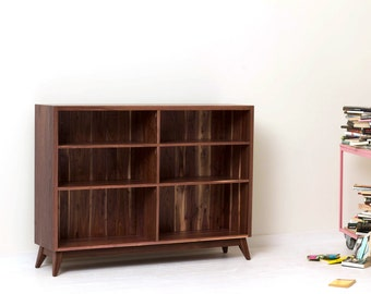 Classic Book Shelf - Large Mid-Century Modern Solid Walnut Bookcase