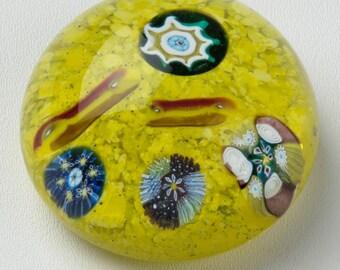 """Murano Millefiori Art Glass Paperweight Made in Italy 3"""""""