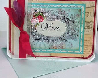 Merci, French Inspired, Blank Inside, 5x7 Note Cards and Aqua Marine Pearl Finished Envelopes, Set of 6